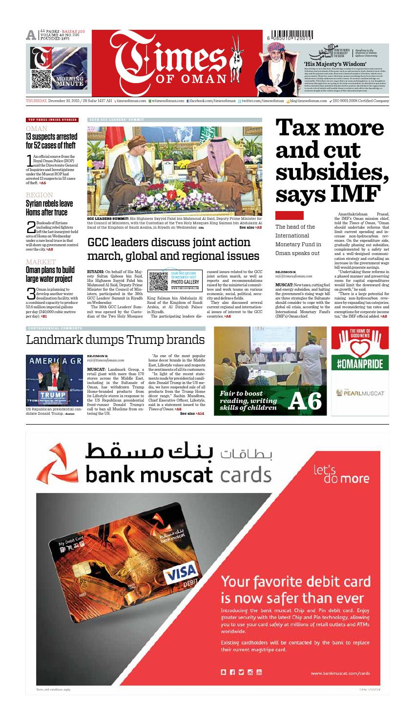 Times of Oman - December 10, 2015 by Muscat Media Group - issuu