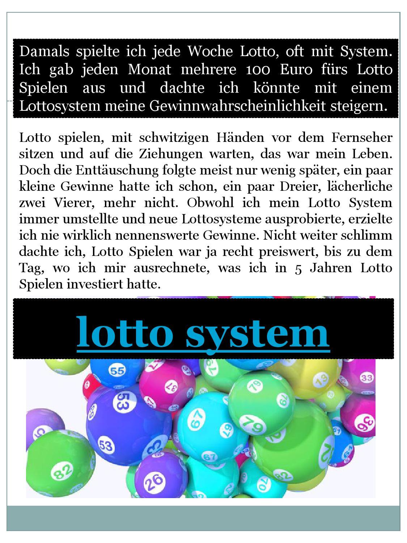 Lotto System Gewinne
