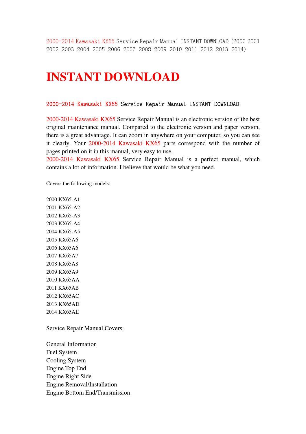 2000 2014 kawasaki kx65 service repair manual instant download (2000 2001  2002 2003 2004 2005 2006 2 by jhsej7y - issuu