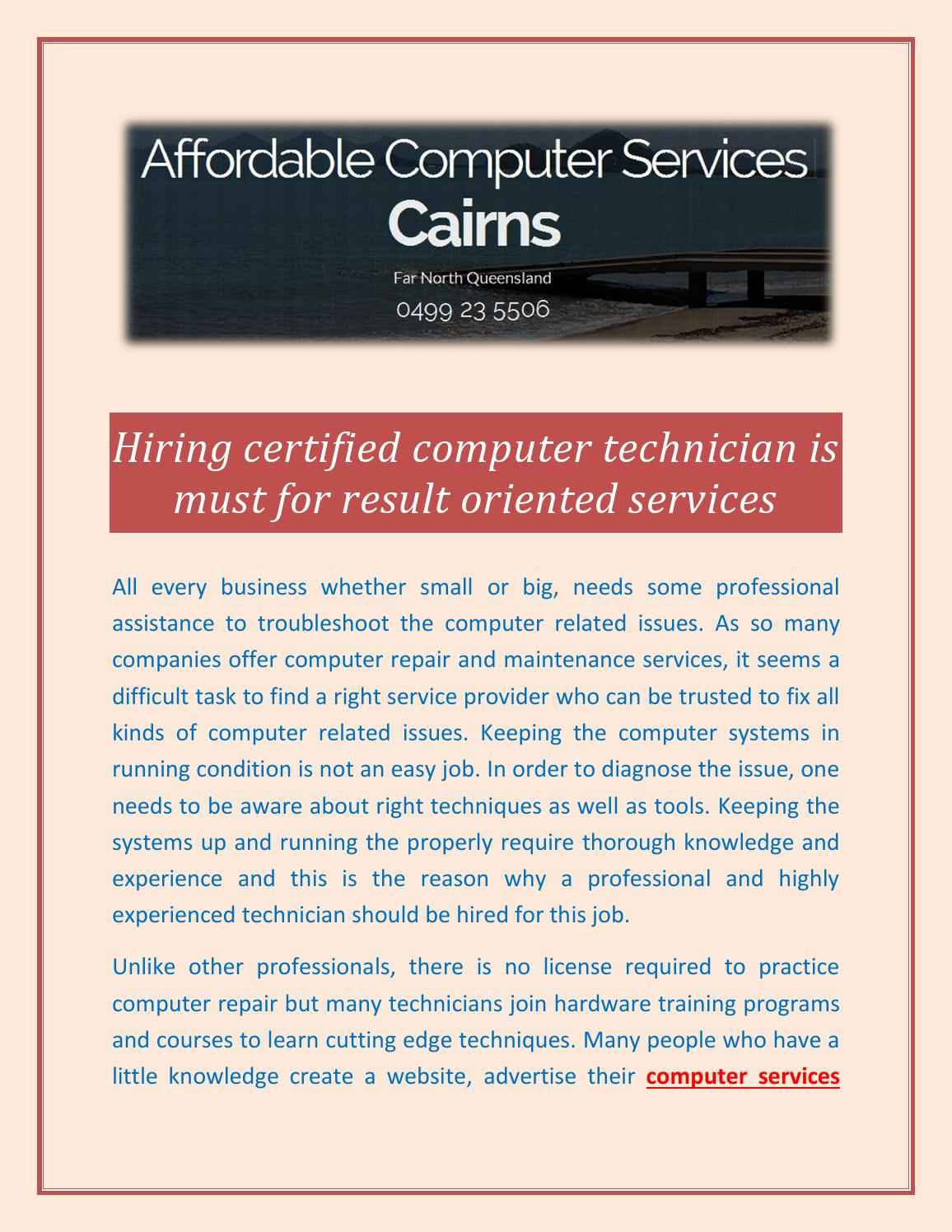 Hiring Certified Computer Technician Is Must For Result Oriented