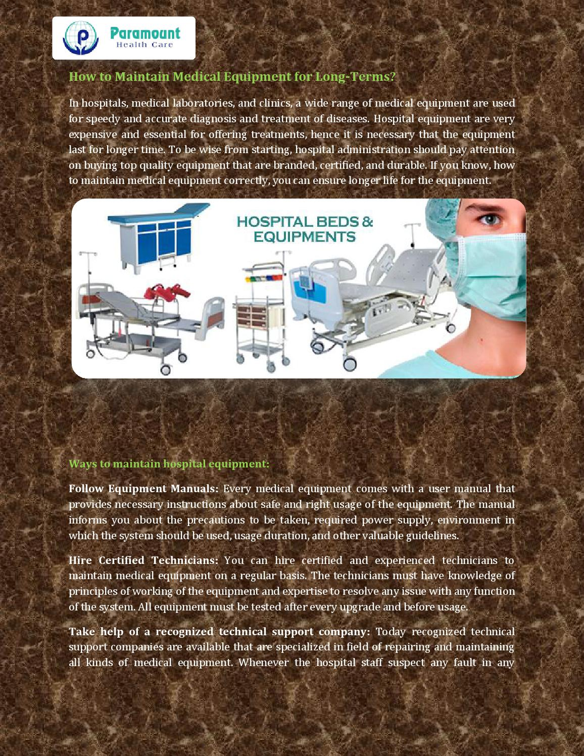 How to maintain medical equipment for long terms