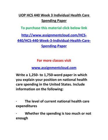 HCS 440 Week 1 Health Care Economics Worksheet