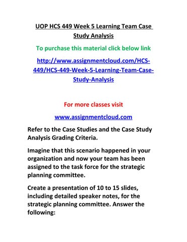 hcs 449 week 5 learning team case study analysis