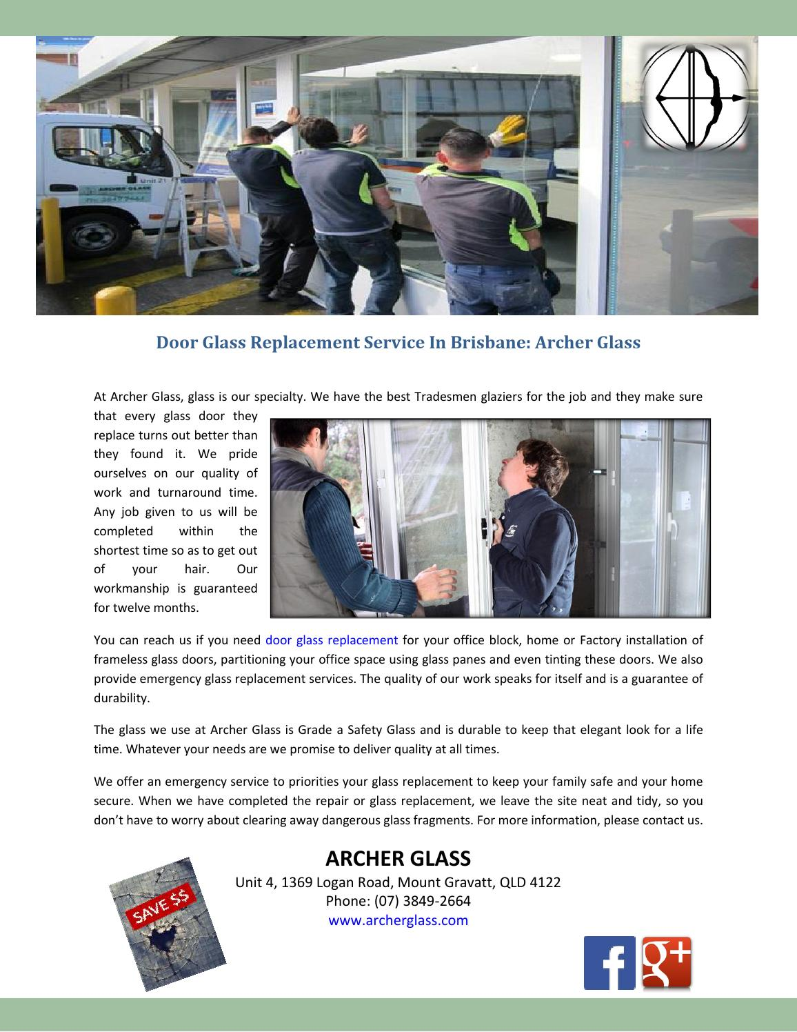 Door Glass Replacement Service In Brisbane Archer Glass By