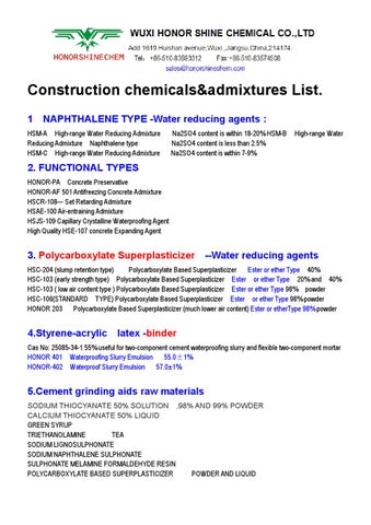 Construction chemicals by HONORSHINECHEM - issuu