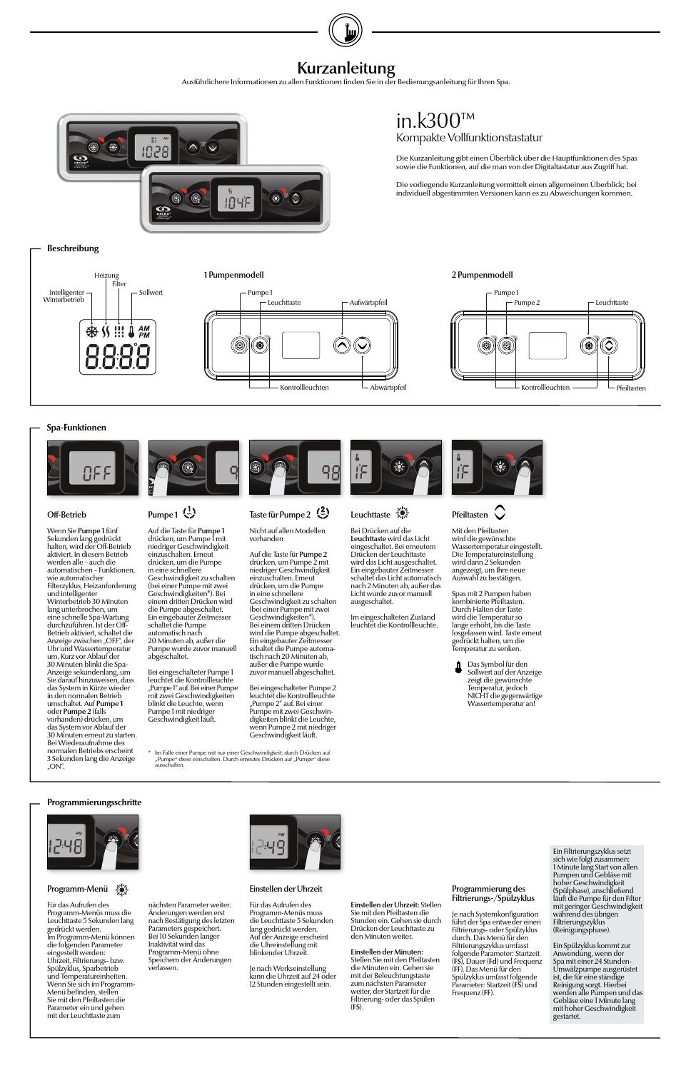 in.k300 keypad quick reference card (Deutsch edition) by Gecko ...