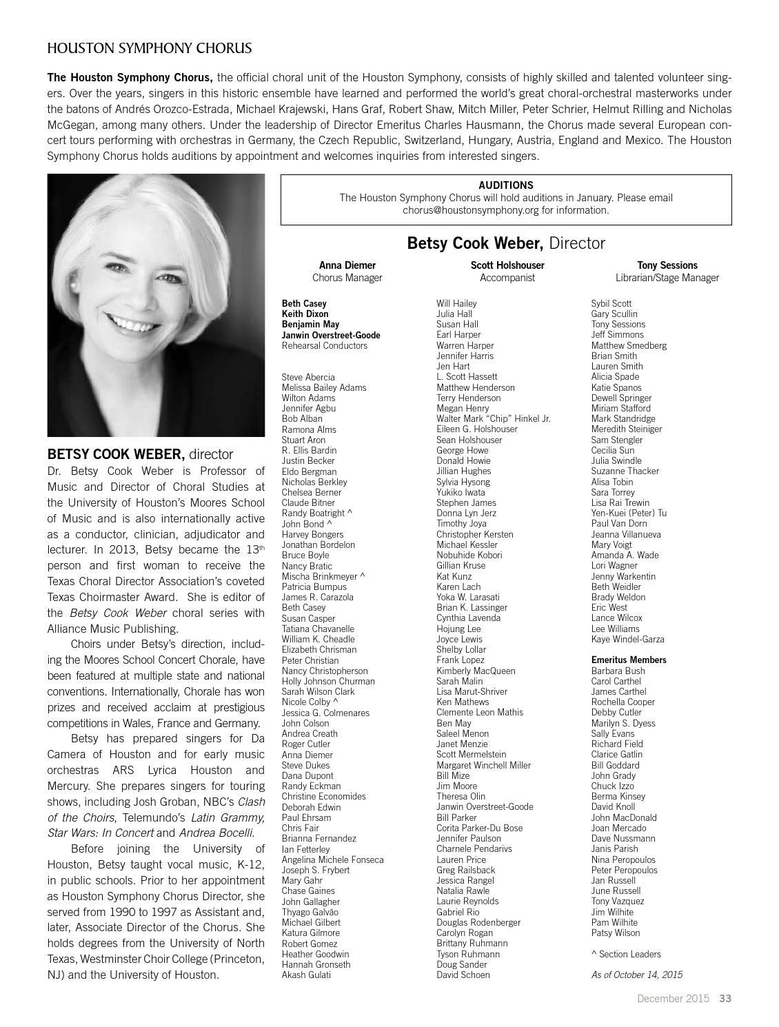 Houston Symphony Magazine — December 2015 by Houston