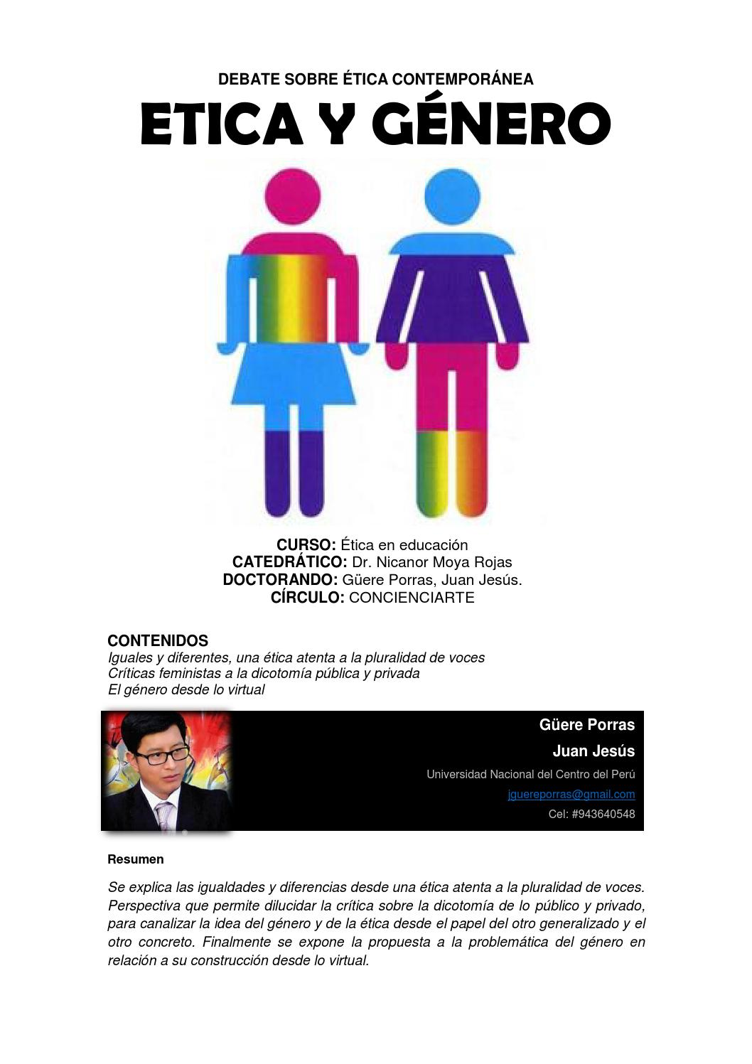 Ética y género, un debate contemporáneo by Juan Jesús