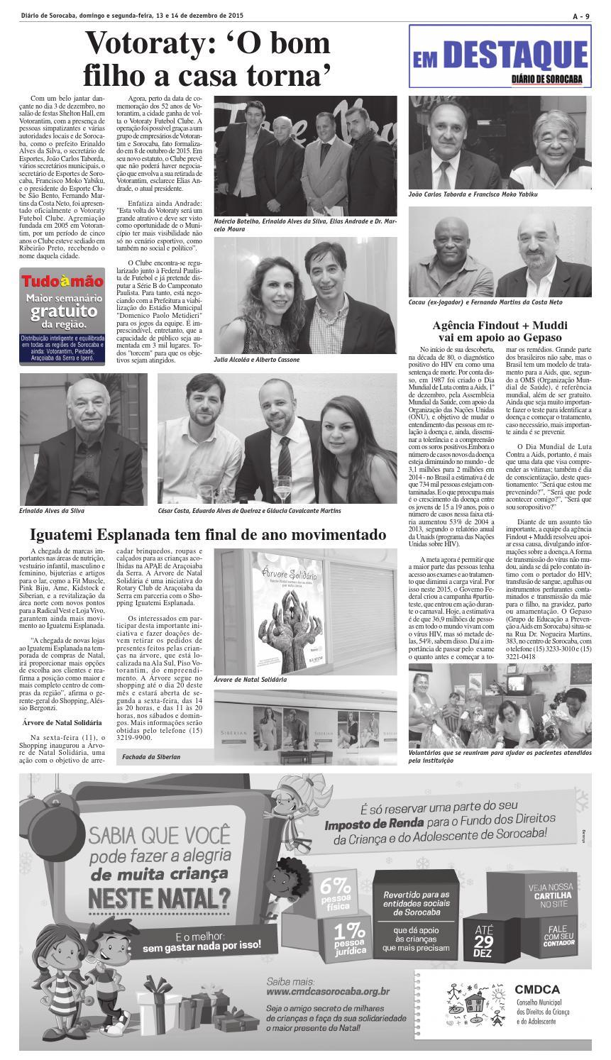 Edição de 13 e 14 de dezembro de 2015 by DIÁRIO DE SOROCABA - issuu 3fb9975e5c