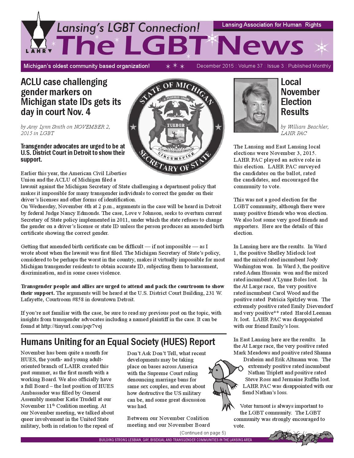 Lgbt News Lansing Connection Dec 15 By Frank Vaca Issuu