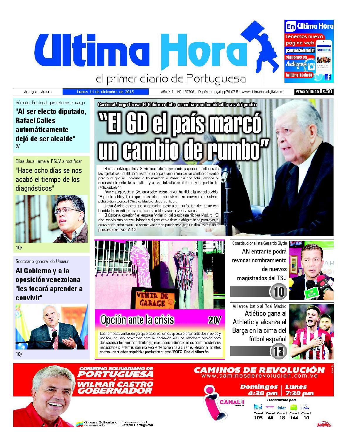 Edicion14 12 2015 By Ultima Hora El Primer Diario De Portuguesa  # Hazan Muebles Gavilan