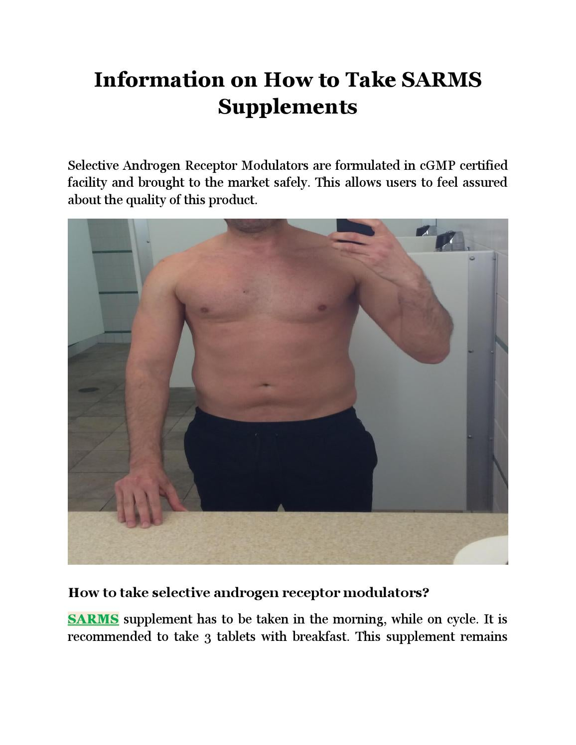 Information On How To Take Sarms Supplements By Kristopheree
