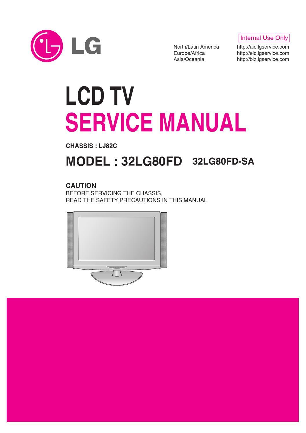Manual    de servi  o televisor lg 32lg80fd sa chassis lj82c