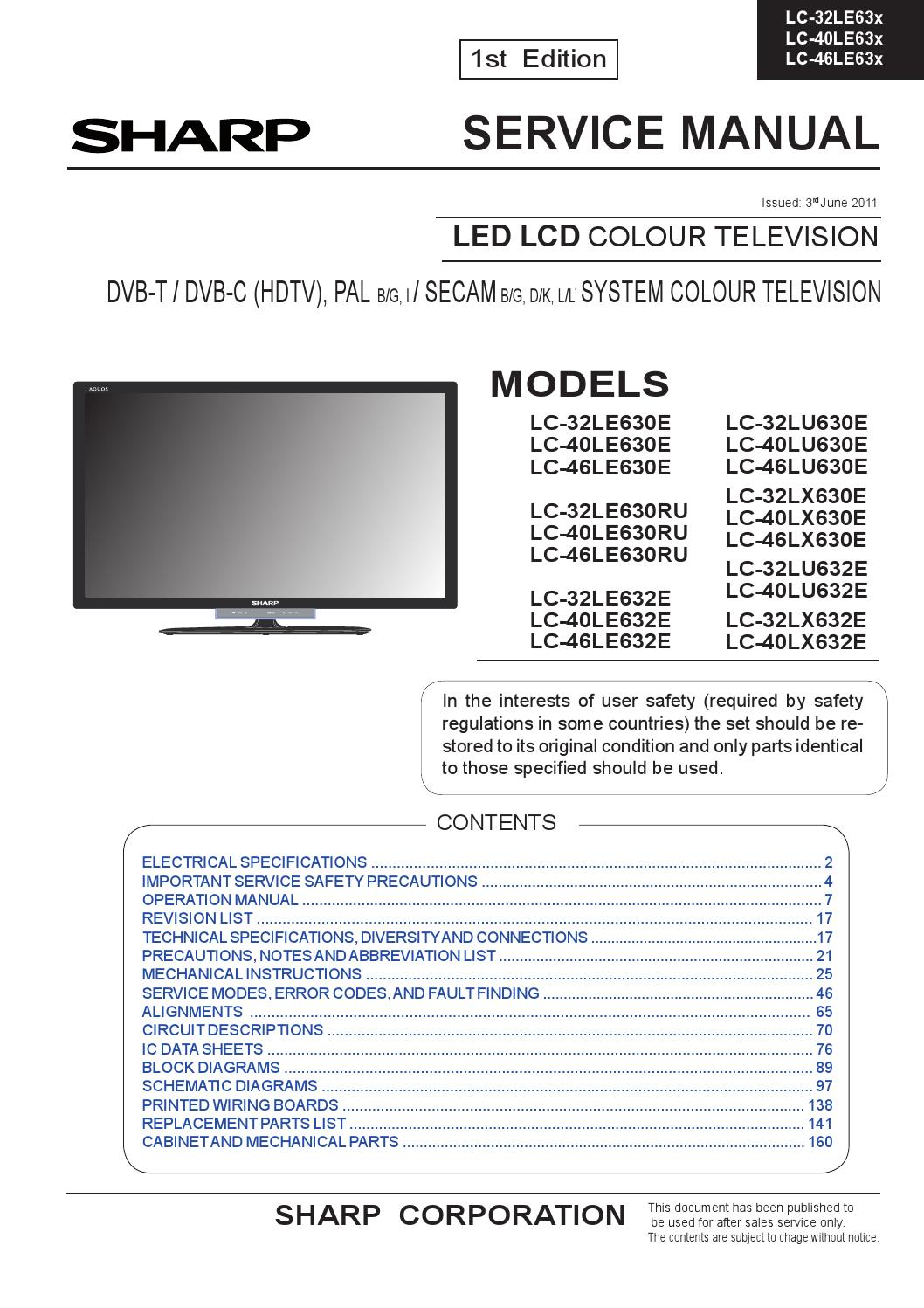 Manual De Servi U00e7o Tv Sharp Led Lcd Diversos Modelos Linha Lc By Portal Da Eletr U00f4nica