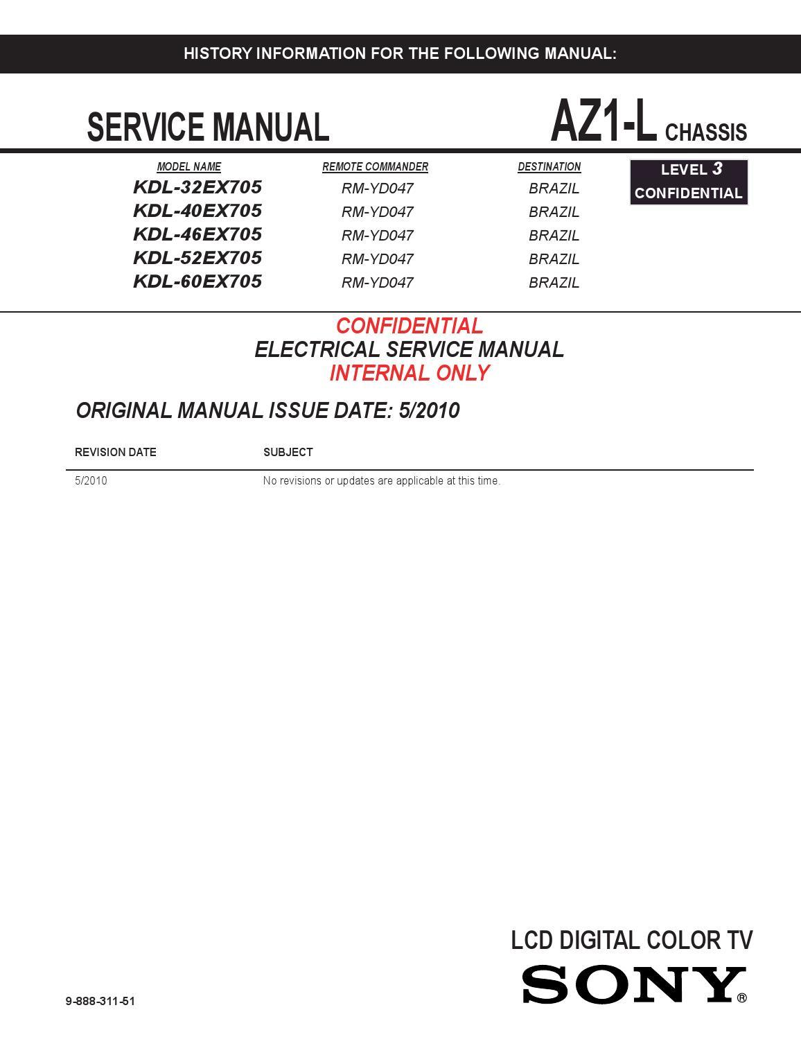 Manual De Servi U00e7o Tvs Sony Modelos Kdl 32ex705 Kdl 40ex705