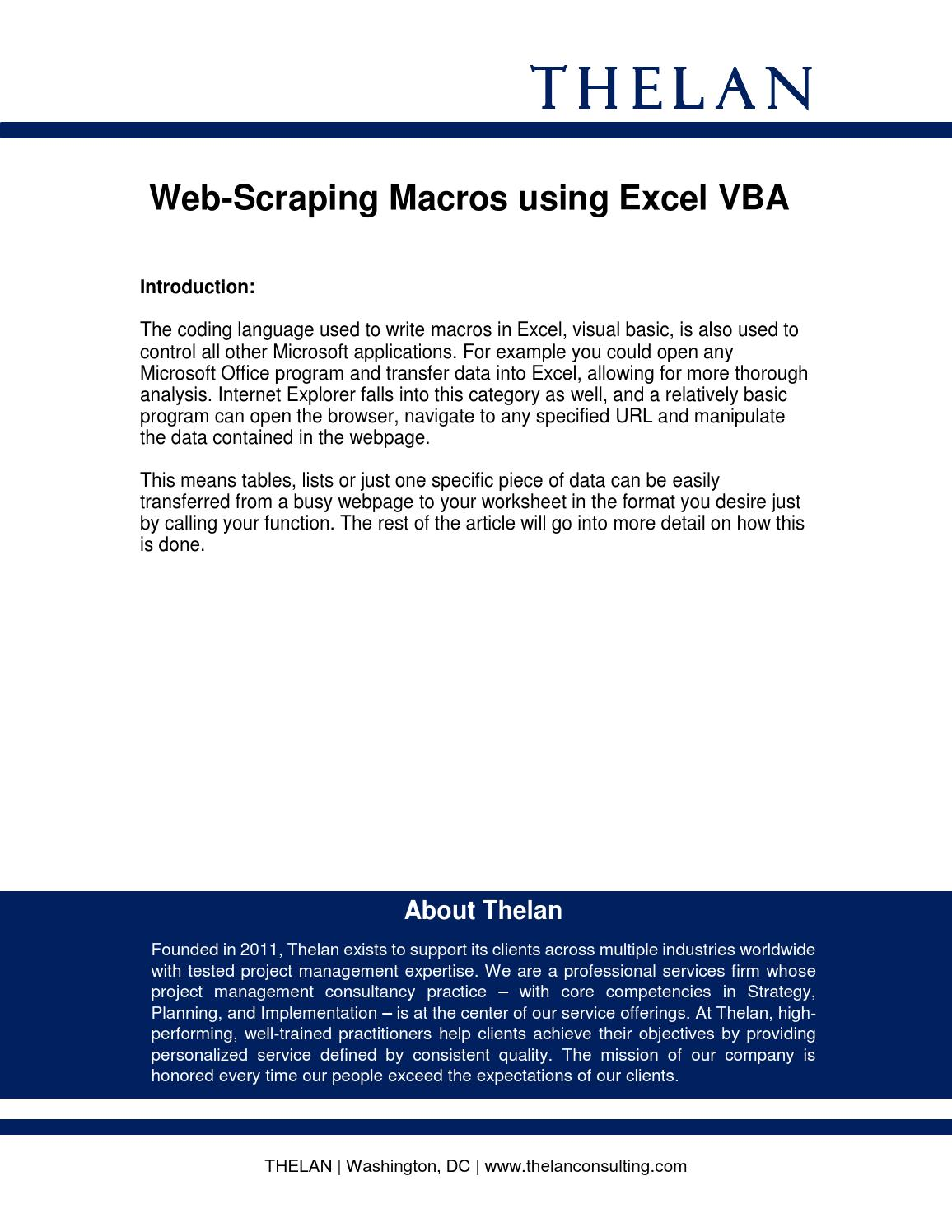Webscraping by Thelan, Inc  - issuu
