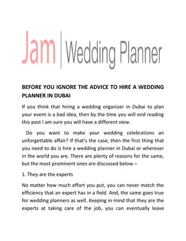 Before You Ignore The Advice To Hire A Wedding Planner In Dubai By