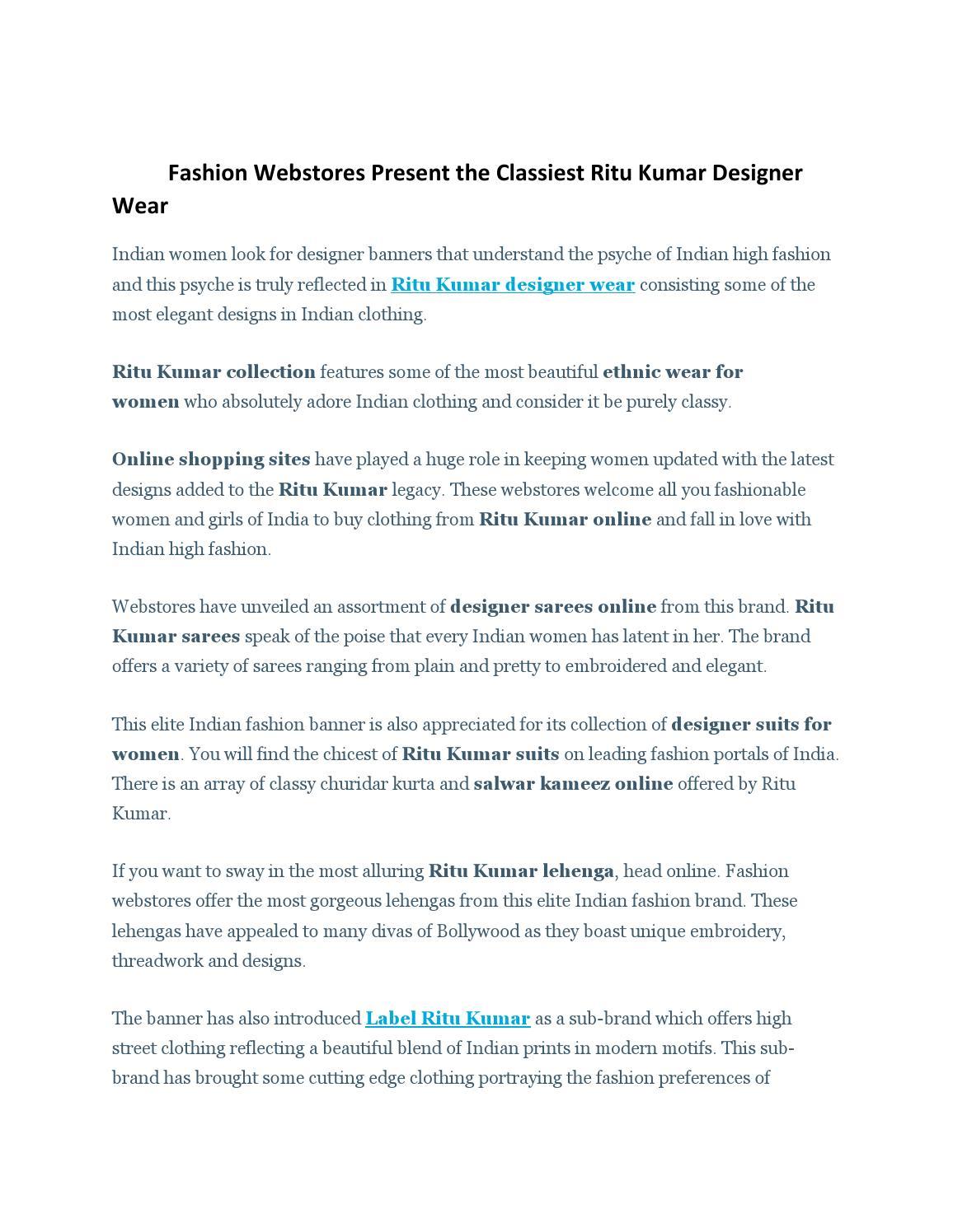 Classiest Ritu Kumar Designer Wear By Sonamgera Issuu