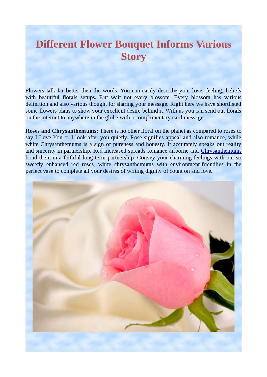 Different flower bouquet informs various story by jasmine rhyas issuu izmirmasajfo