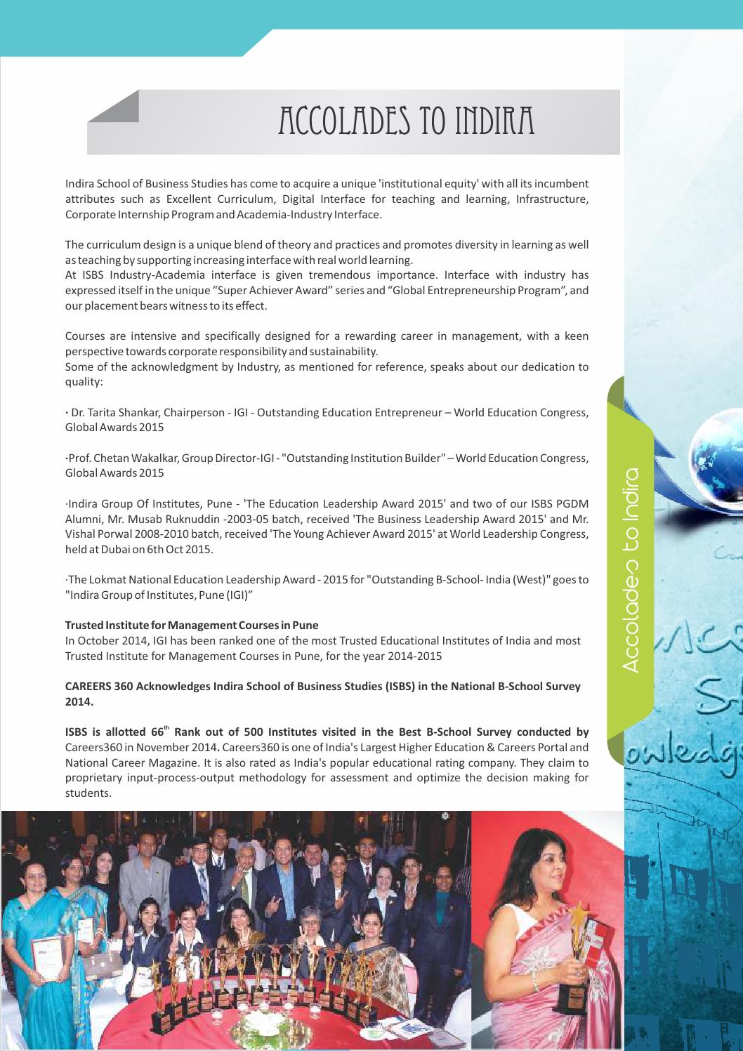 Indira School of Business Studies Prospectus 2016 by Indira Group of