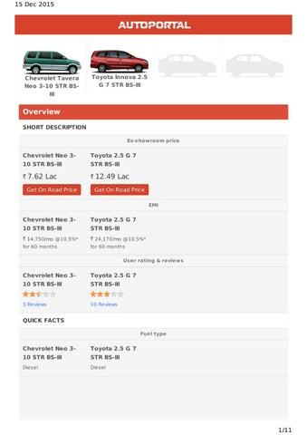 Compare Chevrolet Tavera Vs Toyota Innova By Tommaxi Issuu