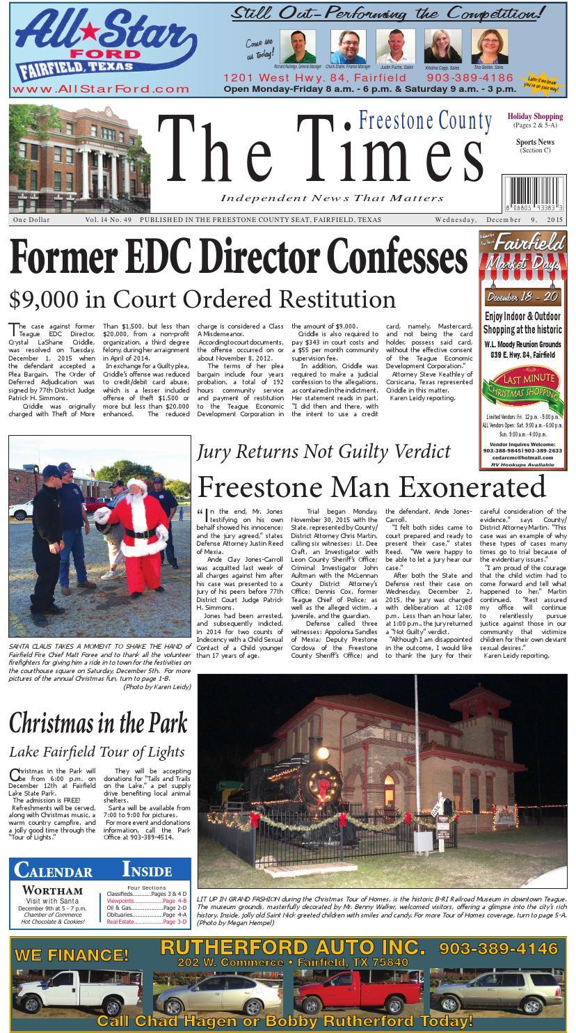 Freestonecountytimes120915 By Karen Leidy