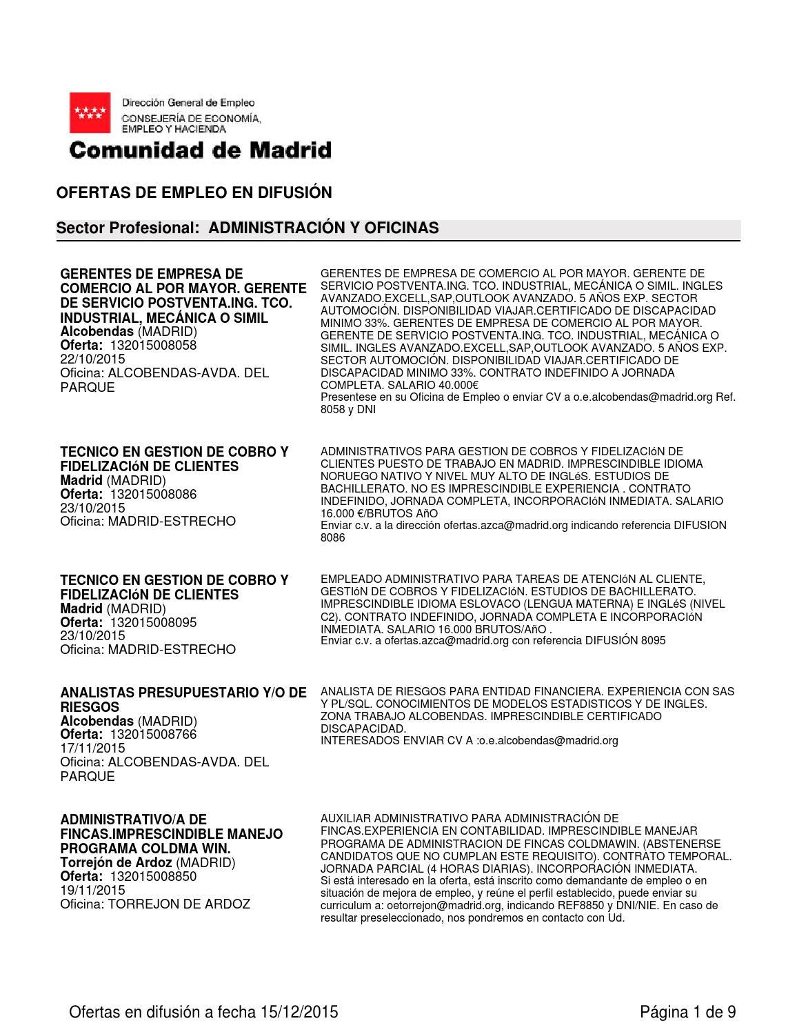 Ofertas de empleo en Madrid. Diciembre 2015 by Pedro Casas - issuu