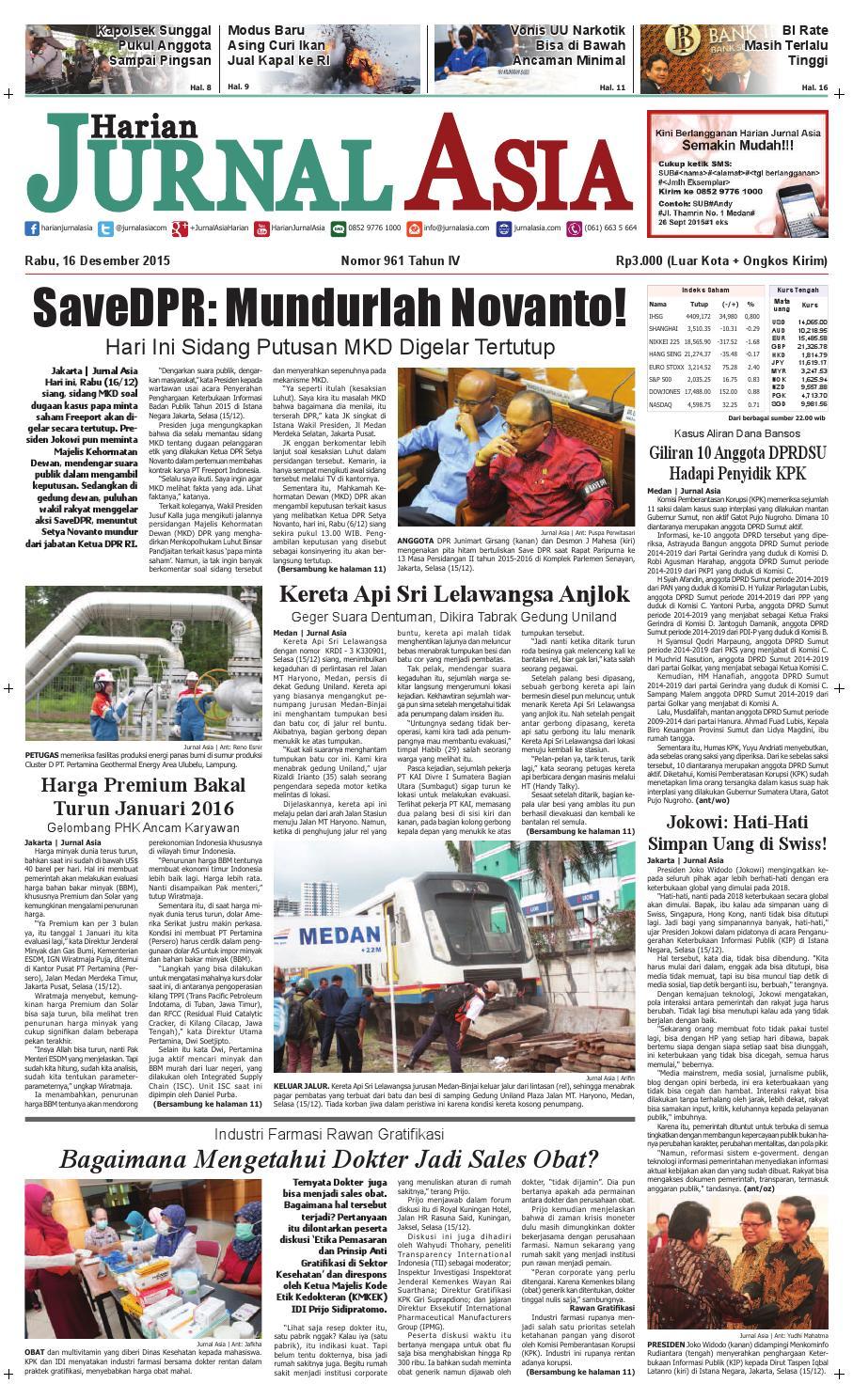 Harian Jurnal Asia Edisi Rabu, 16 Desember 2015 by Harian Jurnal Asia - Medan - issuu
