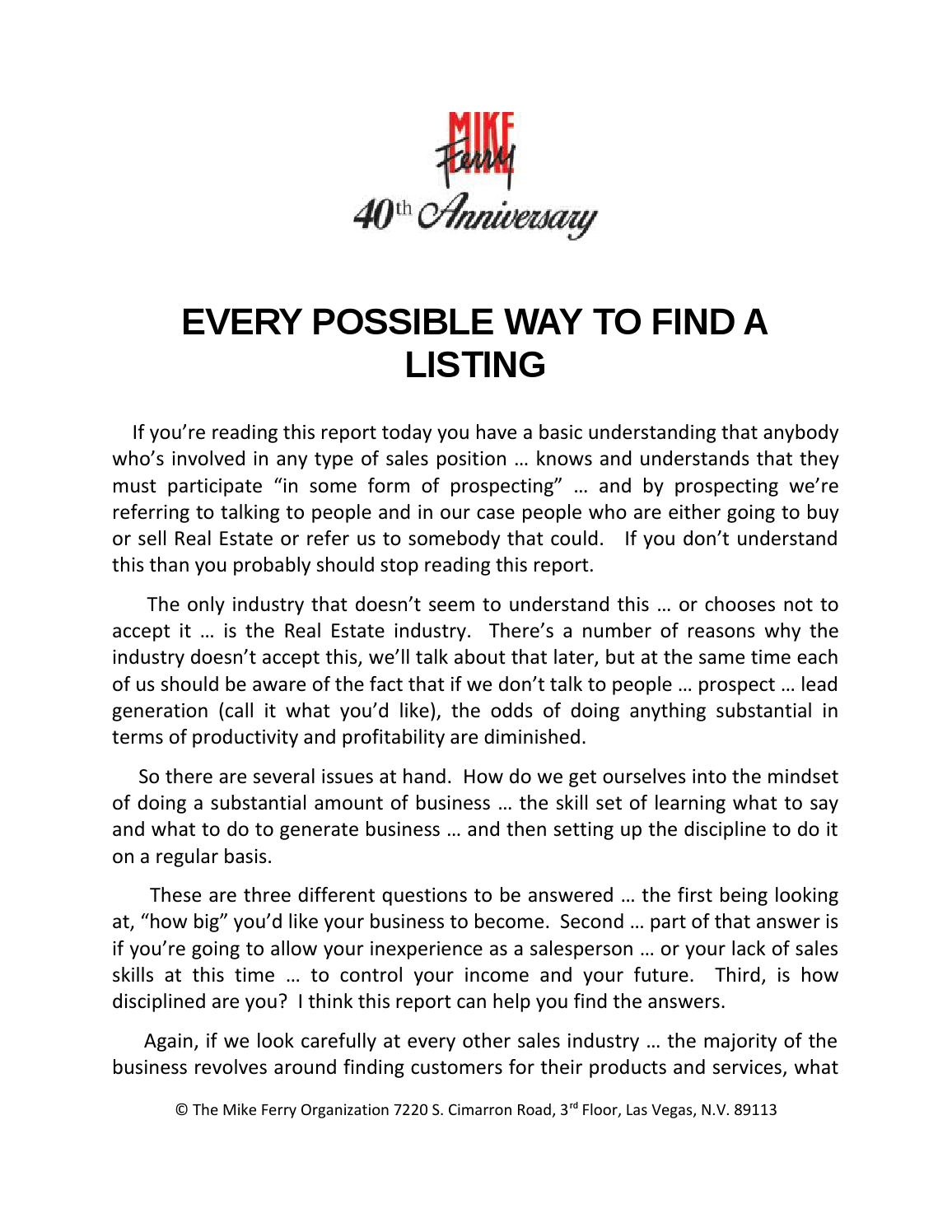 Every Possible Way To Find A Listing by Mike Ferry
