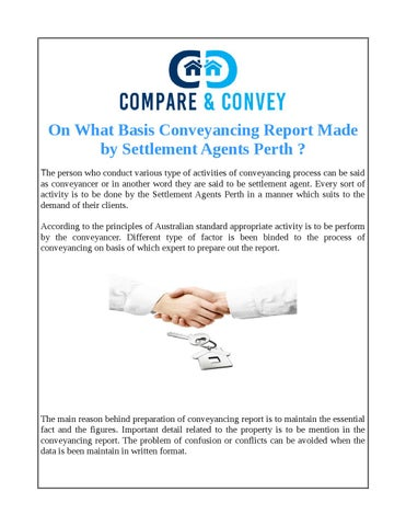On What Basis Conveyancing Report Made By Settlement Agents Perth