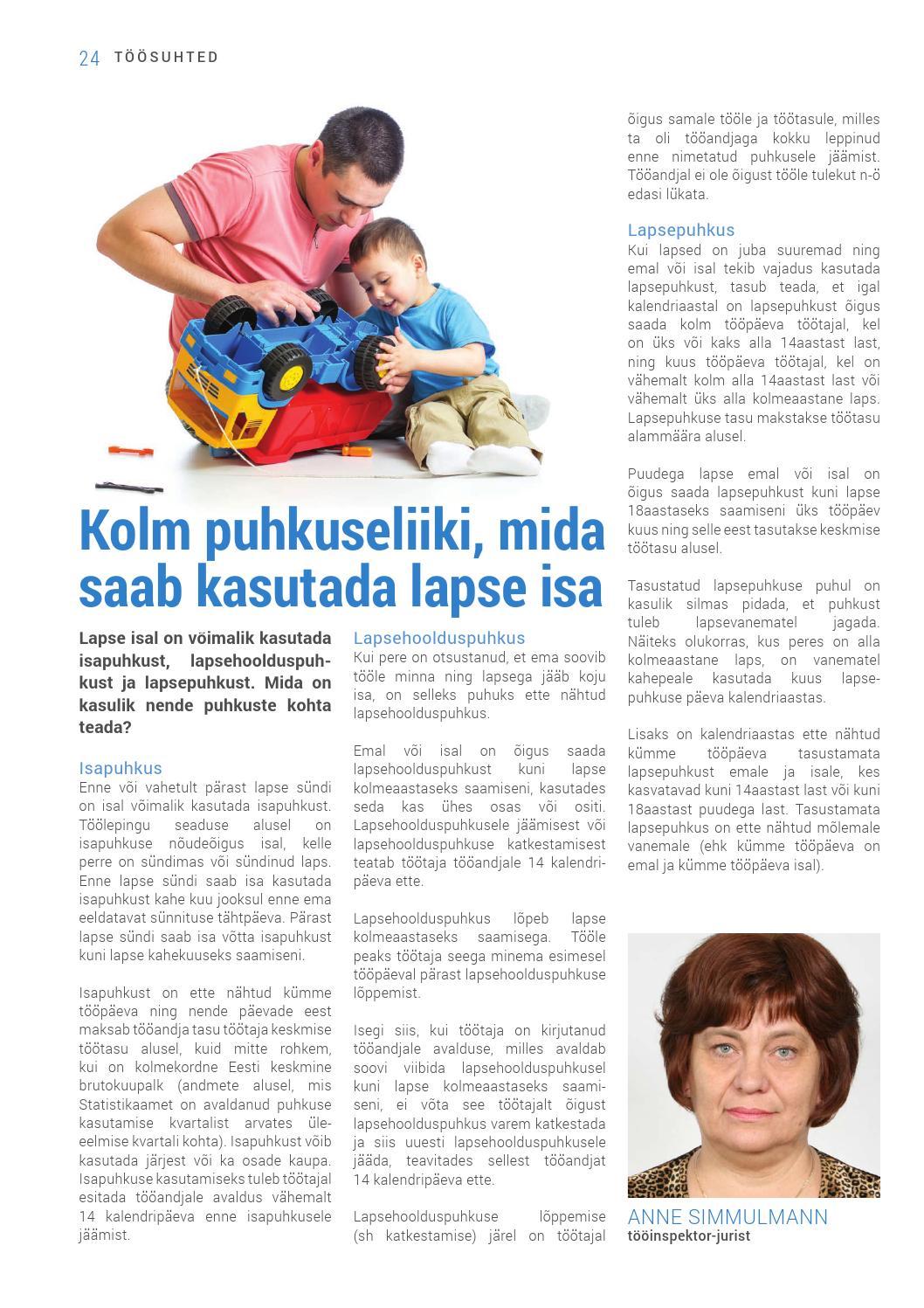 puudega lapse vanema lapsepuhkus