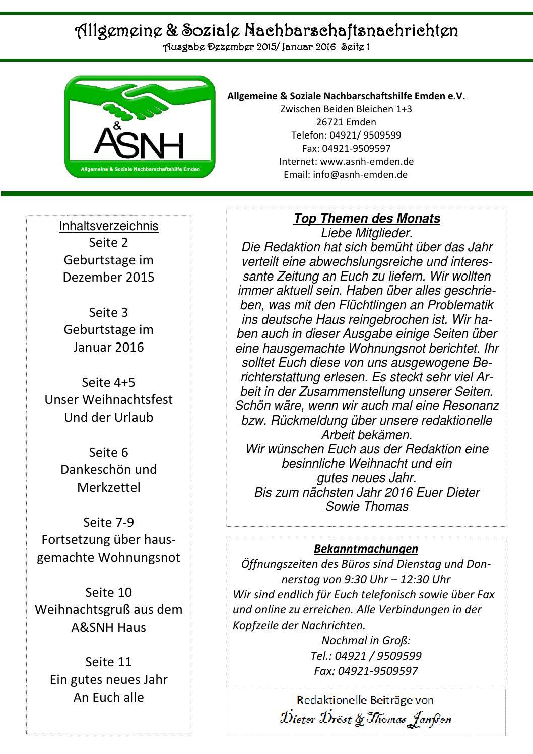 ASNH News Dez.2015 By Asnh Emden   Issuu