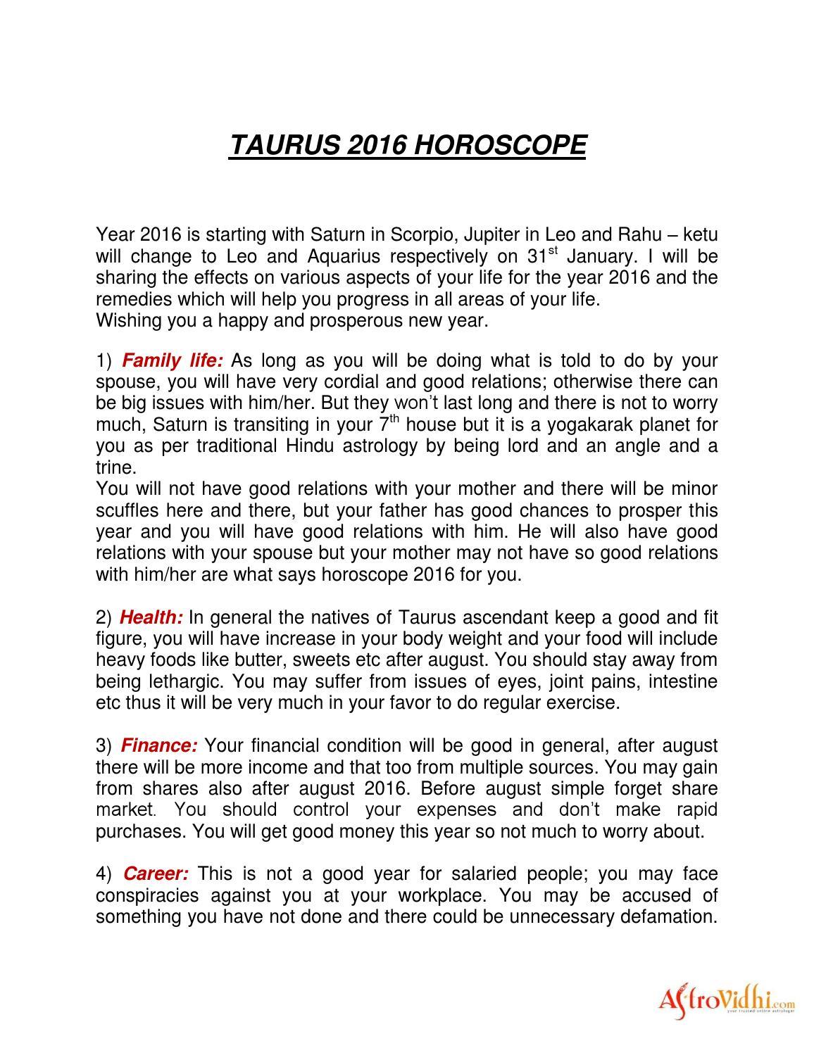 Taurus 2016 Horoscope by Astrovidhi - issuu
