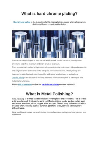 What is hard chrome plating by Strategy-Plus - issuu