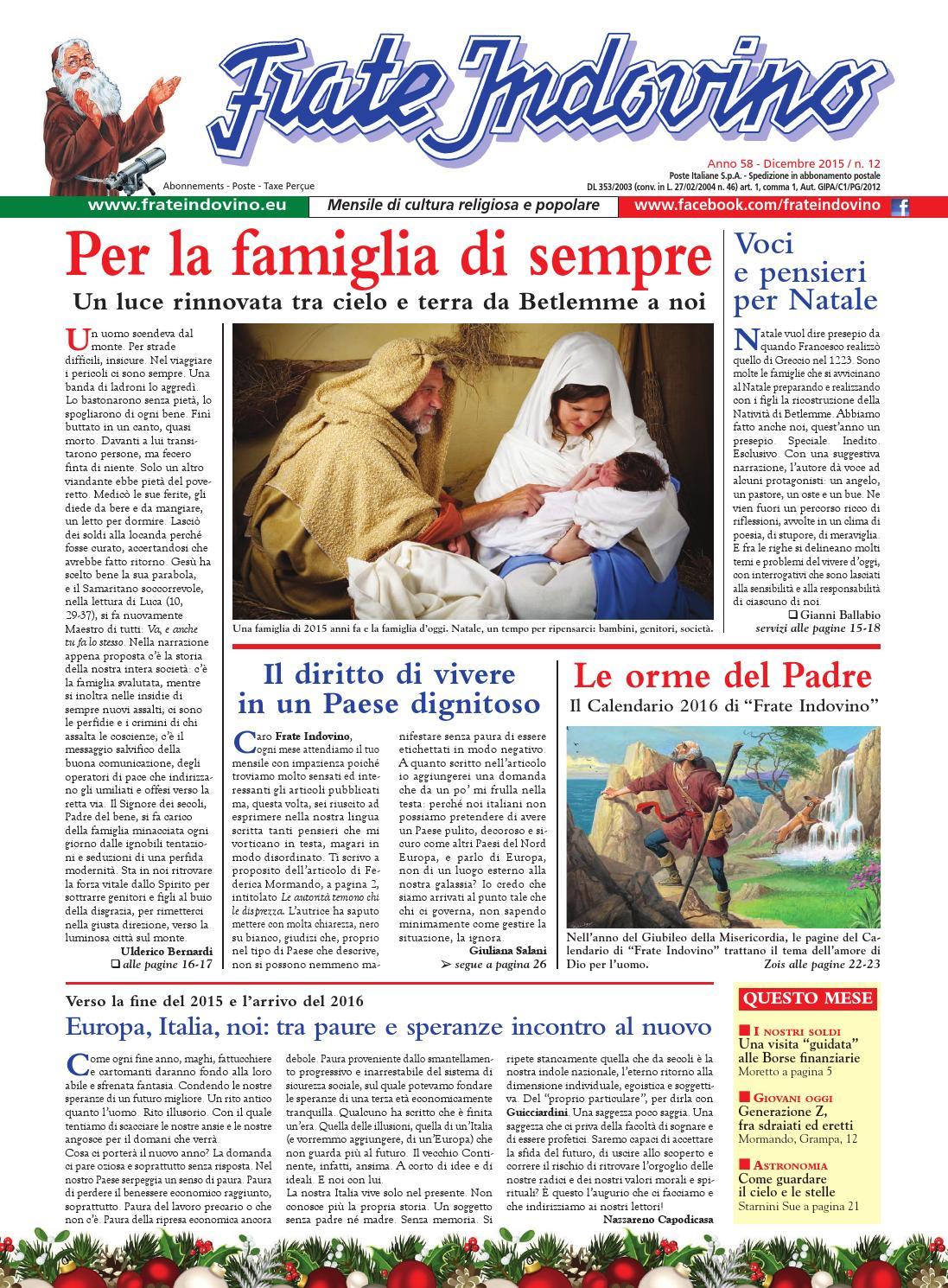 Calendario Frate Indovino 2020 In Edicola.Dicembre By Edizioni Frate Indovino Issuu