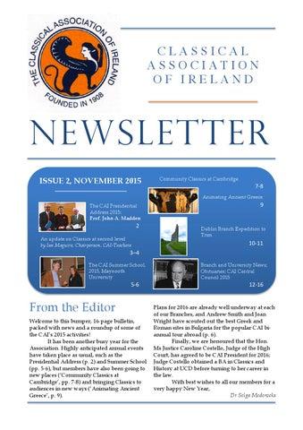 "Cover of ""CAI Newsletter November 2015"""
