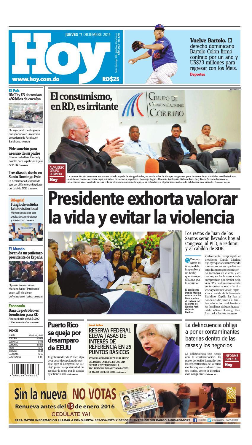 new product 6d7ad 8949e Periódico 17 de diciembre, 2015 by Periodico Hoy - issuu