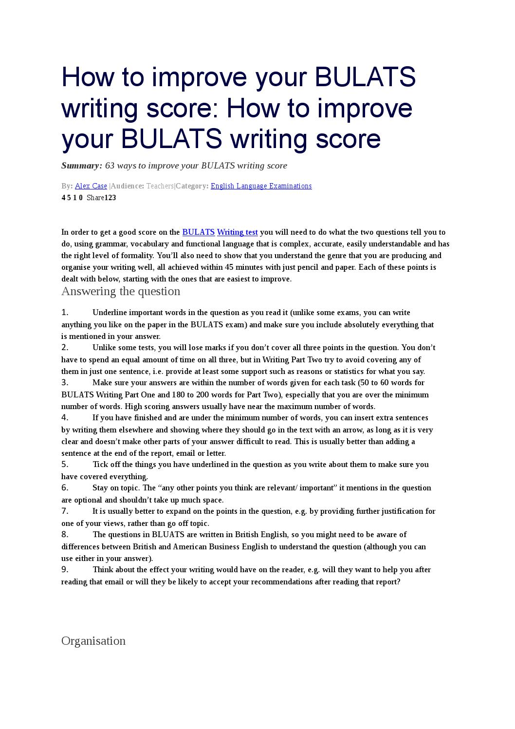 How To Improve Your Bulats Writing Score By Yeliz zelik  Issuu