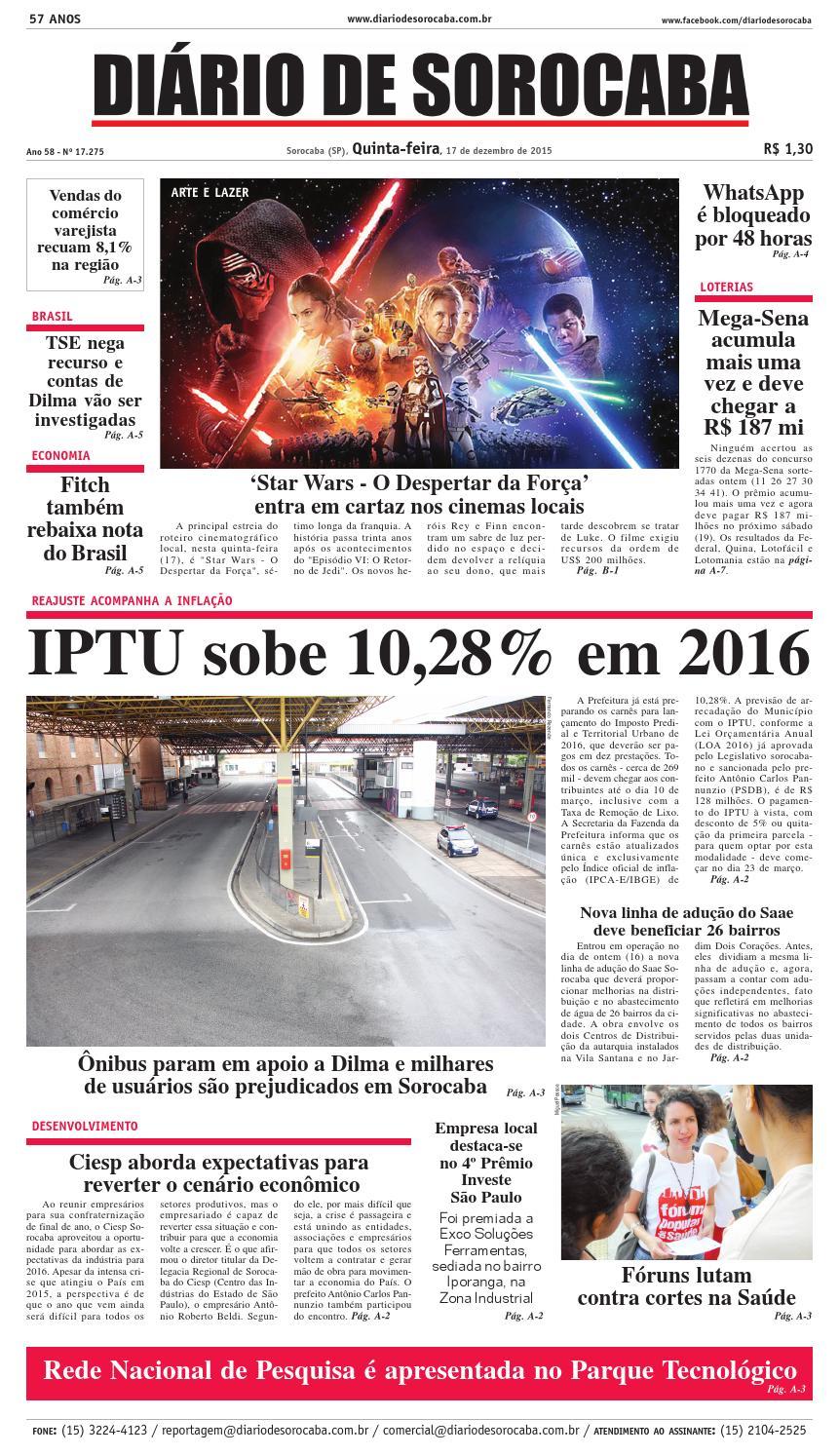 Edição de 17 de dezembro de 2015 by DIÁRIO DE SOROCABA - issuu 3df2175222281
