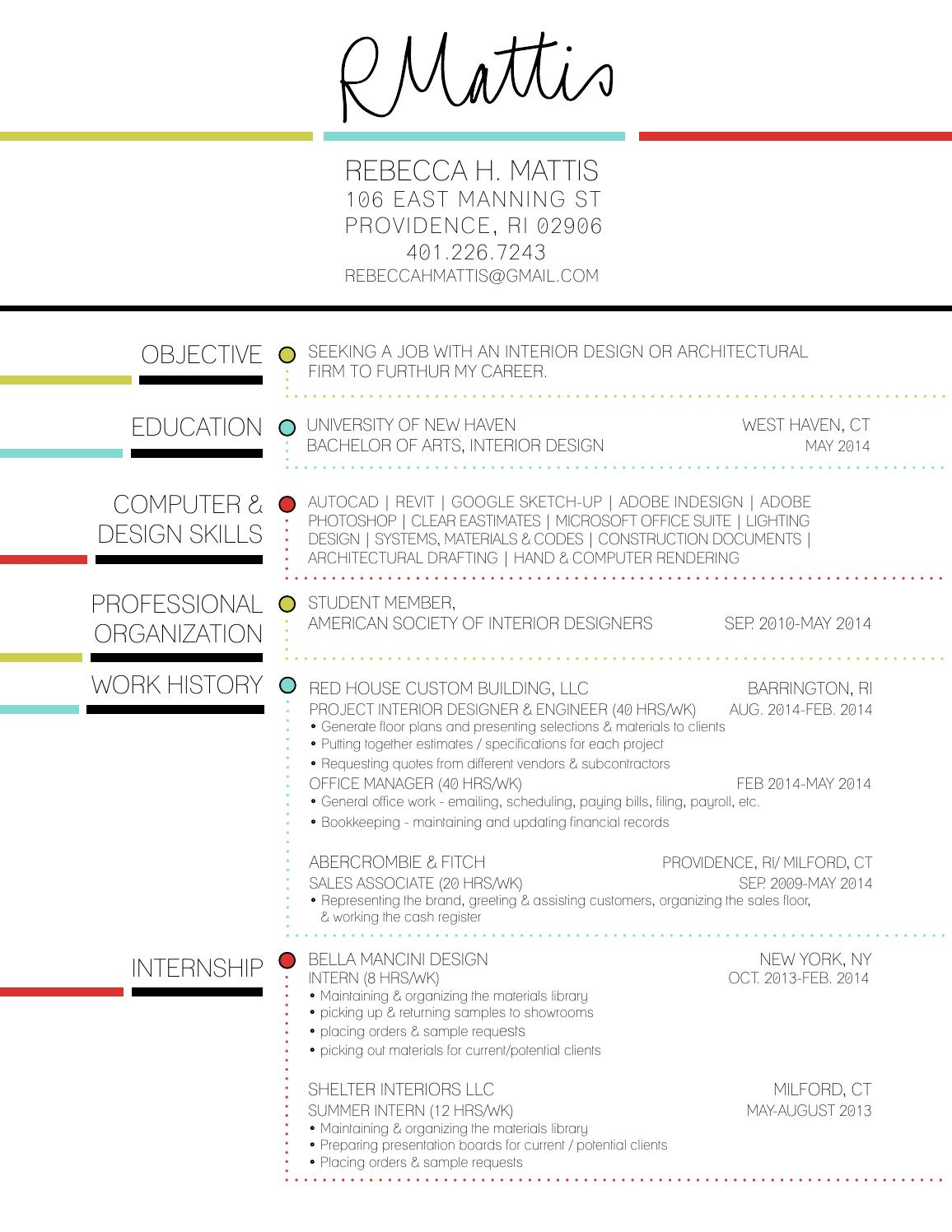 Rebecca Mattis Interior Design Resume By