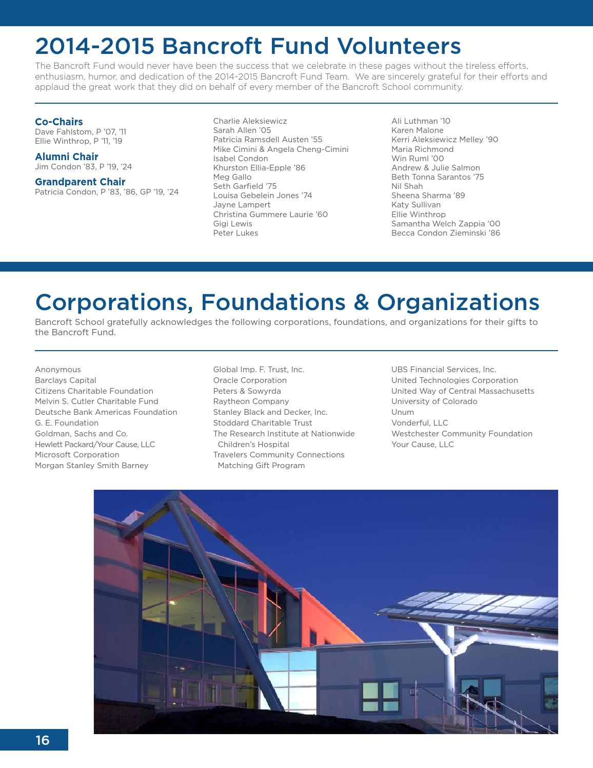 F/W 2015 Bancroft Bulletin and 14-15 Annual Report by Bancroft