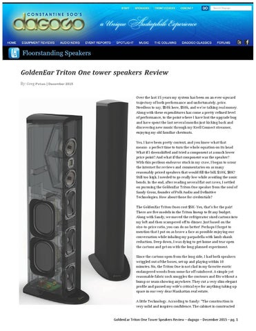 Goldenear Triton 1 Floor Standing Speaker Review By Audio