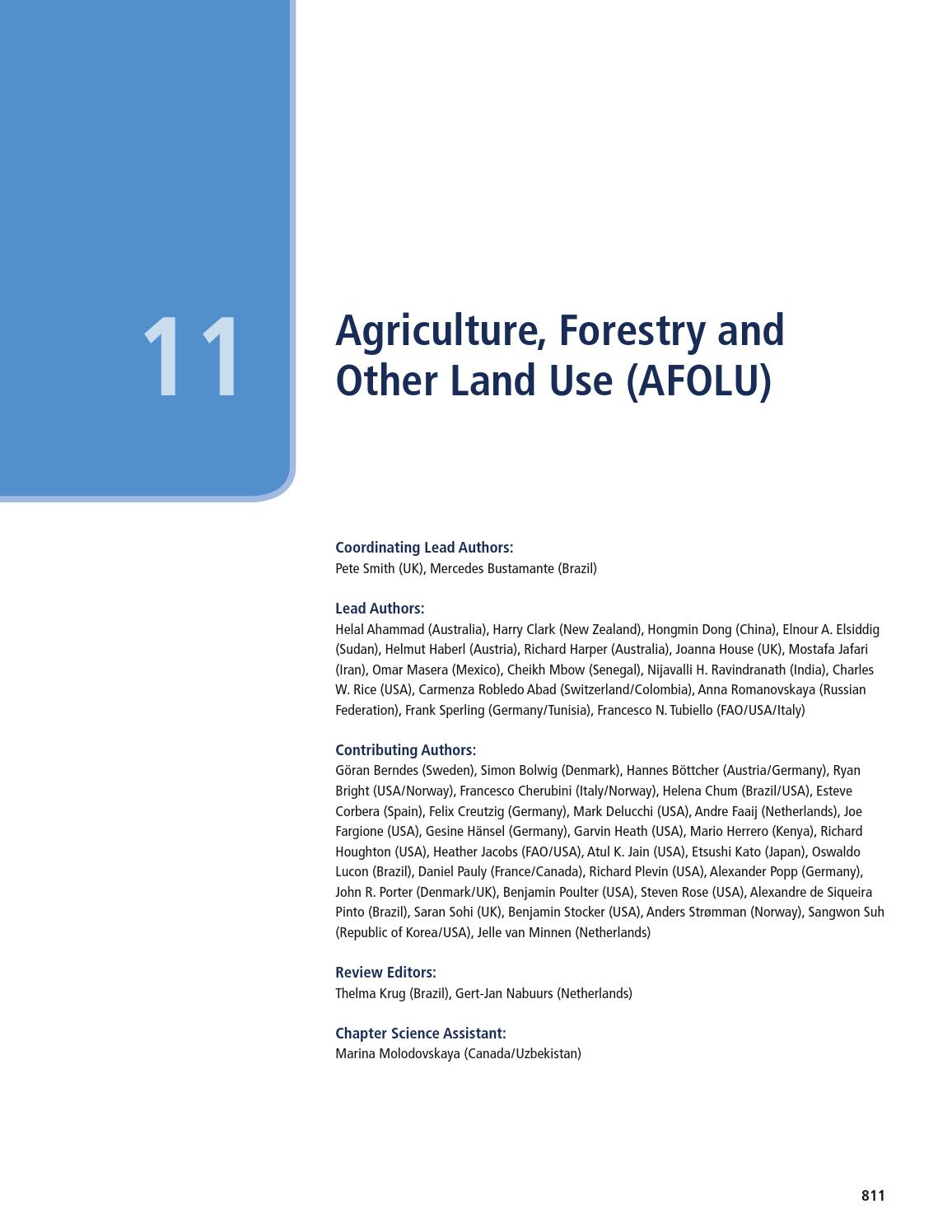Ipcc chapter11 agriculture, forestry and other land use by