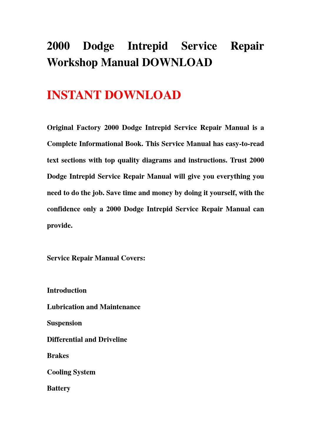 2000 dodge intrepid service repair workshop manual. Black Bedroom Furniture Sets. Home Design Ideas