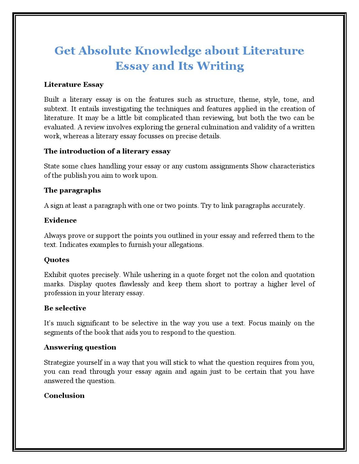 High School Essay Writing  Research Paper Essays also Essay On My College Life Get Absolute Knowledge About Literature Essay And Its  Academic Essay