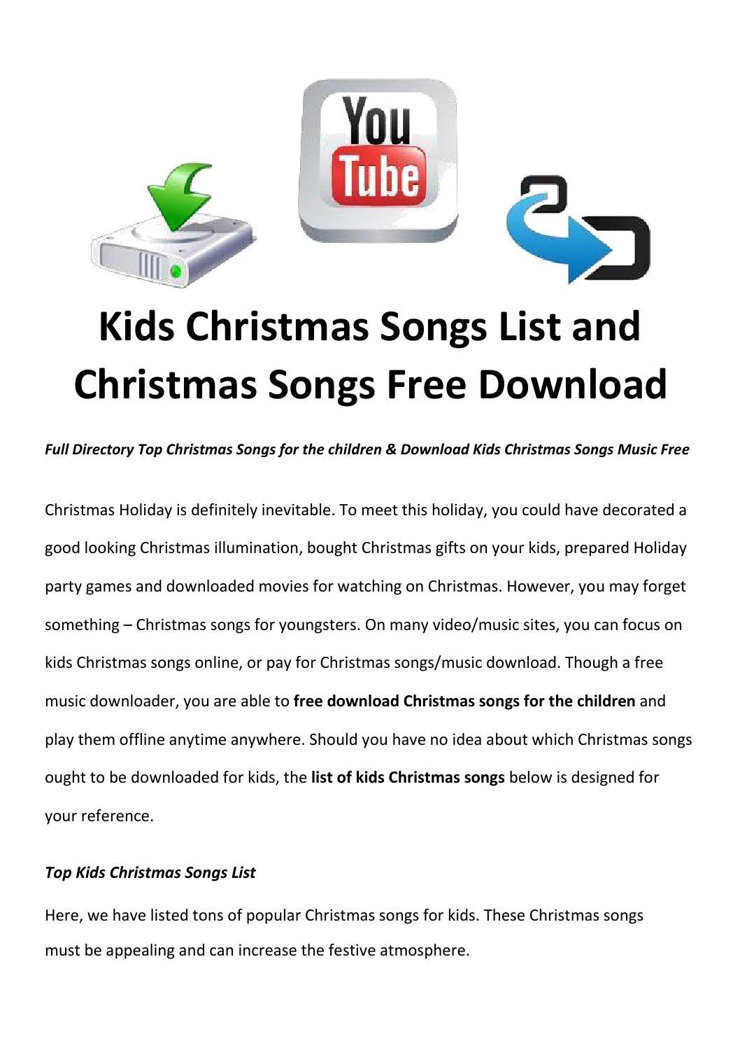 kids christmas songs list by lucymorries - issuu