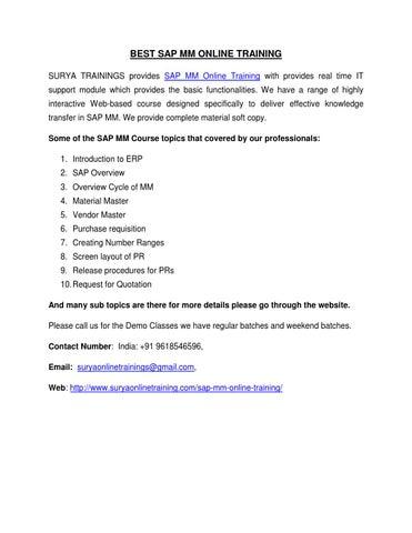 Best sap mm online training by jyothsna95 - issuu
