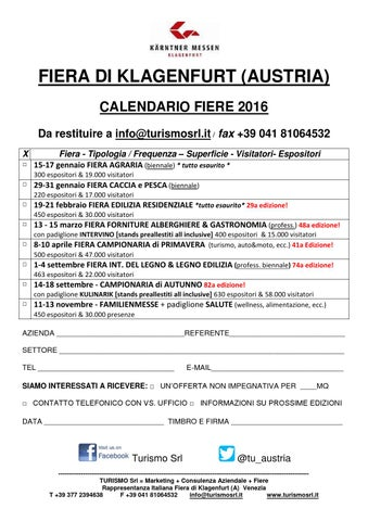 Calendario 2016 klagenfurt by turismo spring issuu for Fiera elettronica calendario 2016
