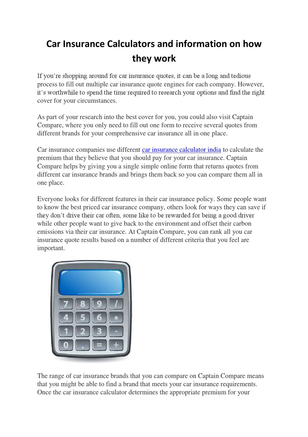 Car Insurance Calculators And Information On How They Work By Sanjay Issuu