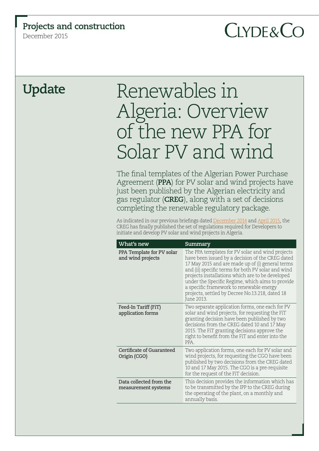 Renewables In Algeria Overview Of The New Power Purchase Agreements